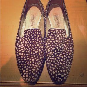 Jimmy Choo Fawn Print Calf Skin Slippers/Loafers